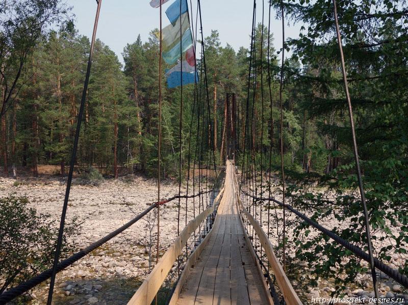 Подвесной мост через реку Баргузин к Умхэю