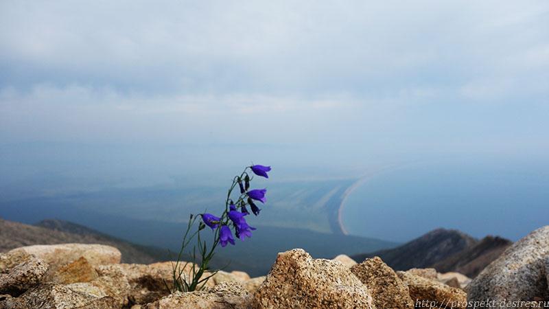 Вид на песчаный пляж Баргузинской косы со Святого носа