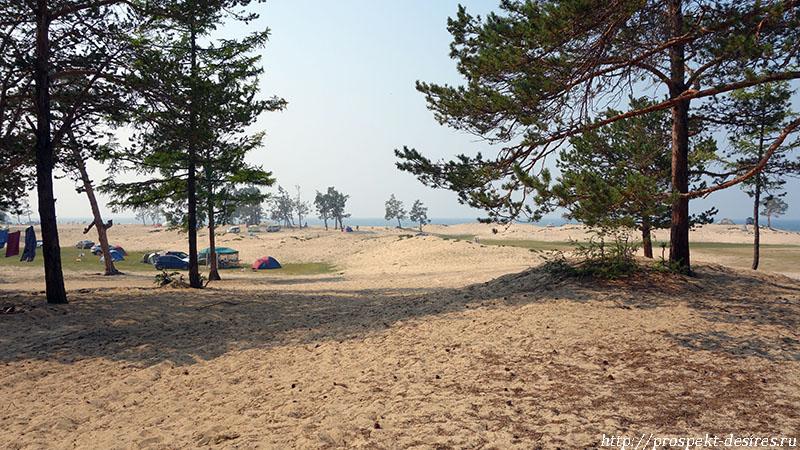 Бесконечный песчаный пляж Сарайской бухты, о. Ольхон п. Хужир