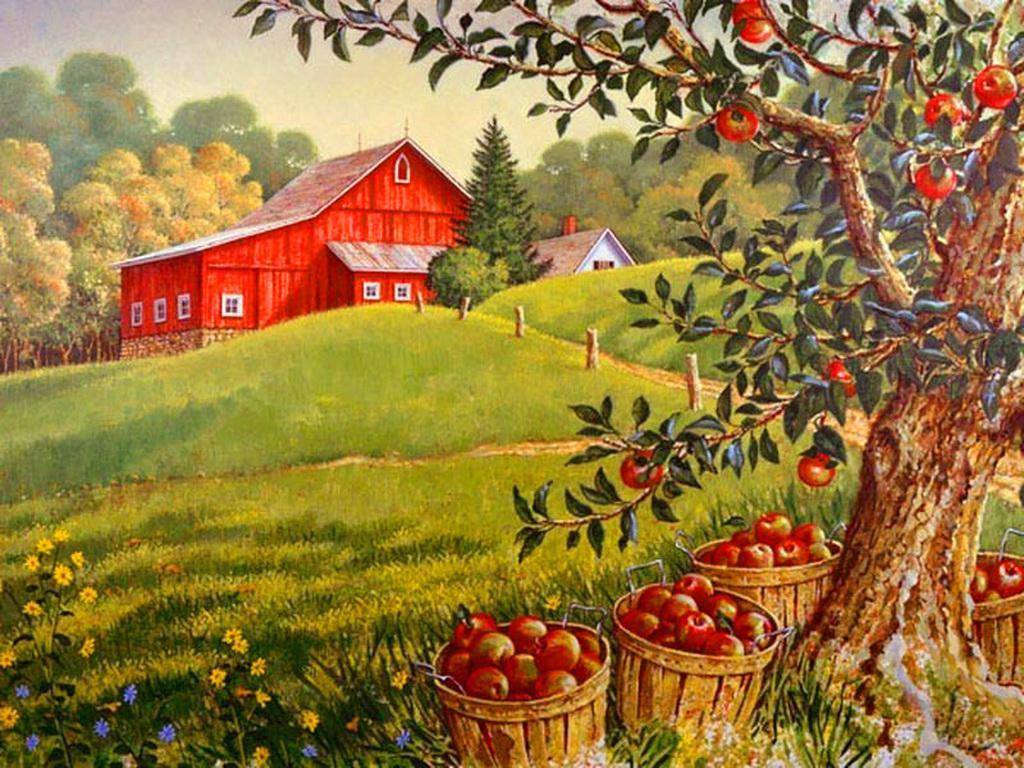 Сбор урожая в деревне осенью