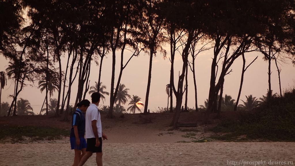 Закат на гоа в Индии