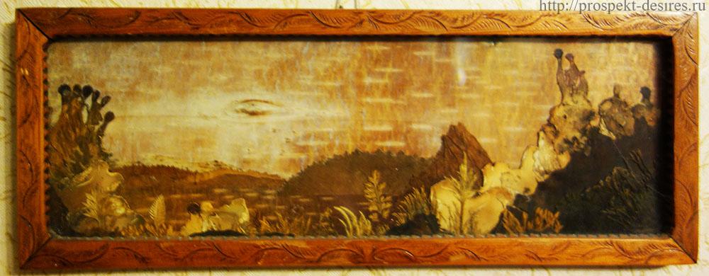 Картина из бересты и засушенных трав