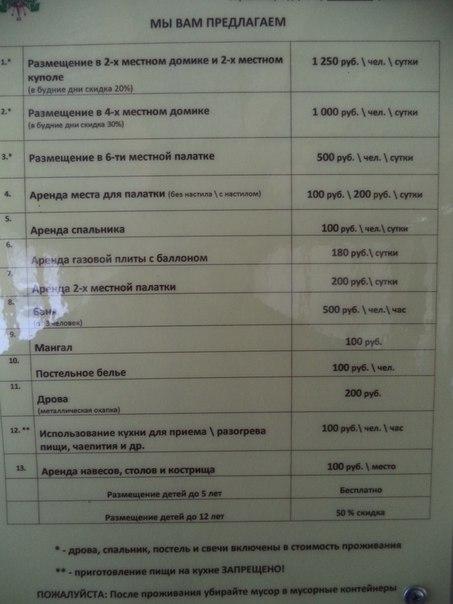 Цены на размещение на турбазе Витязь