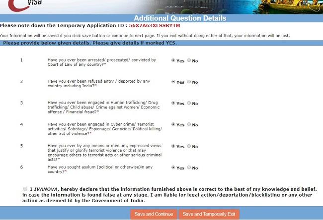 заполнение электронной визы в индию